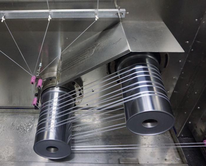 Горячие ролики на прядильной машине мультифиламента